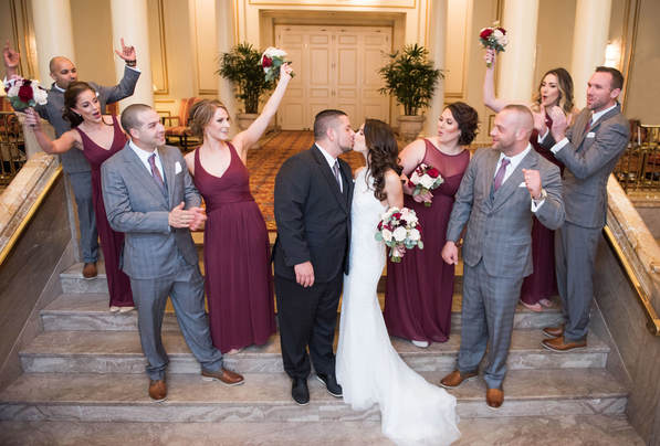 How to Match the Wedding Party, what should the groom wear, what should the groomsmen wear, Maroon Wedding